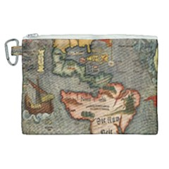 Vintage Map Canvas Cosmetic Bag (xl)