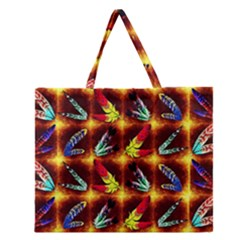 Feathers Zipper Large Tote Bag