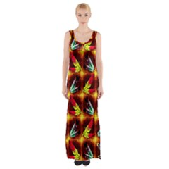 Feathers Maxi Thigh Split Dress