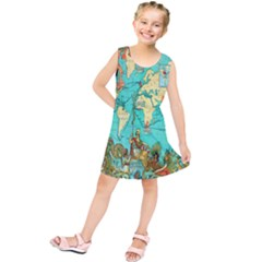 Vintage Map 1 Kids  Tunic Dress