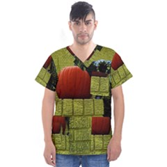 Pumpkins 10 Men s V Neck Scrub Top