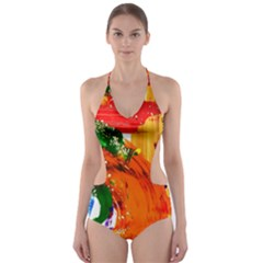 In Mediterrainean Cut Out One Piece Swimsuit