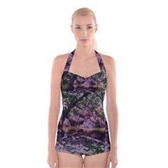 Old Tree 6 Boyleg Halter Swimsuit