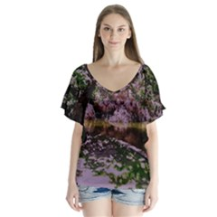 Old Tree 6 V Neck Flutter Sleeve Top