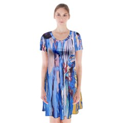 Point Of View 3/1 Short Sleeve V Neck Flare Dress