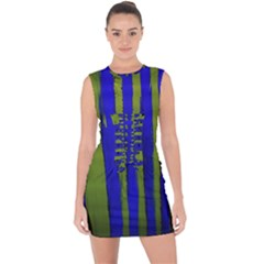 Stripes 4 Lace Up Front Bodycon Dress