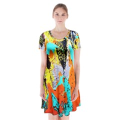 Africa  Kenia Short Sleeve V Neck Flare Dress