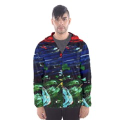 Tumble Weed And Blue Rose Hooded Wind Breaker (men)