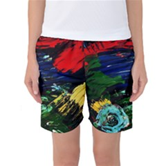 Tumble Weed And Blue Rose Women s Basketball Shorts