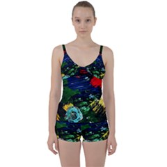 Tumble Weed And Blue Rose Tie Front Two Piece Tankini