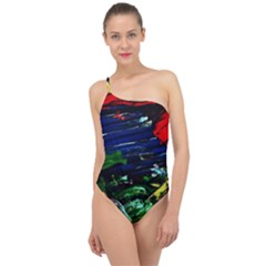 Tumble Weed And Blue Rose Classic One Shoulder Swimsuit