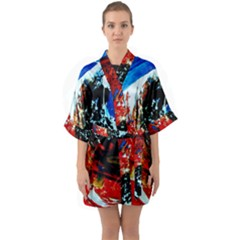 Mixed Feelings 4 Quarter Sleeve Kimono Robe