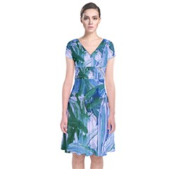 Close To Pinky,s House 9 Short Sleeve Front Wrap Dress