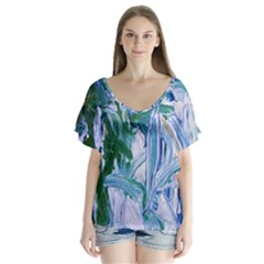 Close To Pinky,s House 9 V Neck Flutter Sleeve Top