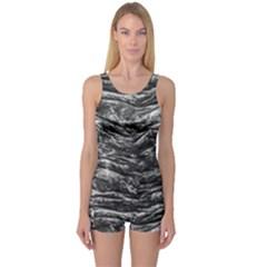 Dark Skin Texture Pattern One Piece Boyleg Swimsuit