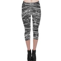 Dark Skin Texture Pattern Capri Leggings