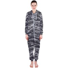 Dark Skin Texture Pattern Hooded Jumpsuit (ladies)