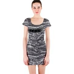 Dark Skin Texture Pattern Short Sleeve Bodycon Dress