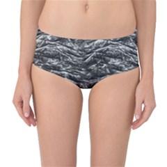 Dark Skin Texture Pattern Mid-Waist Bikini Bottoms