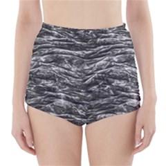 Dark Skin Texture Pattern High-Waisted Bikini Bottoms