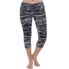 Dark Skin Texture Pattern Capri Yoga Leggings