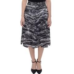 Dark Skin Texture Pattern Folding Skater Skirt