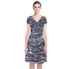 Dark Skin Texture Pattern Short Sleeve Front Wrap Dress