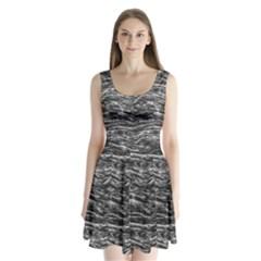 Dark Skin Texture Pattern Split Back Mini Dress