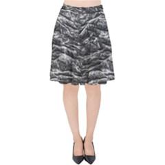 Dark Skin Texture Pattern Velvet High Waist Skirt