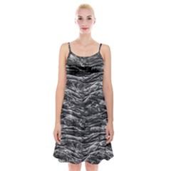 Dark Skin Texture Pattern Spaghetti Strap Velvet Dress