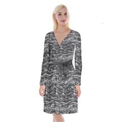 Dark Skin Texture Pattern Long Sleeve Velvet Front Wrap Dress
