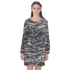 Dark Skin Texture Pattern Long Sleeve Chiffon Shift Dress