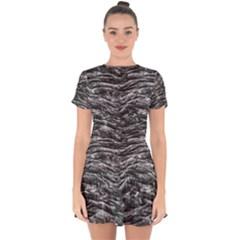 Dark Skin Texture Pattern Drop Hem Mini Chiffon Dress