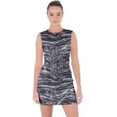 Dark Skin Texture Pattern Lace Up Front Bodycon Dress