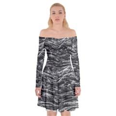 Dark Skin Texture Pattern Off Shoulder Skater Dress