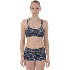 Dark Skin Texture Pattern Women s Sports Set