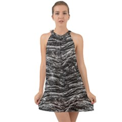 Dark Skin Texture Pattern Halter Tie Back Chiffon Dress