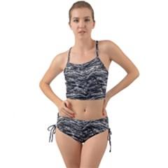 Dark Skin Texture Pattern Mini Tank Bikini Set
