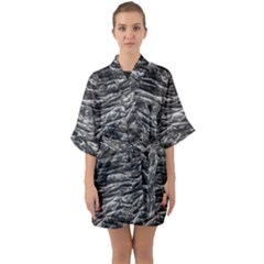 Dark Skin Texture Pattern Quarter Sleeve Kimono Robe