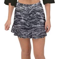 Dark Skin Texture Pattern Fishtail Mini Chiffon Skirt