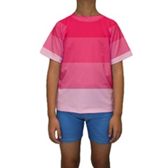 Pink Scarlet Gradient Stripes Pattern Kids  Short Sleeve Swimwear