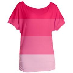 Pink Scarlet Gradient Stripes Pattern Women s Oversized Tee