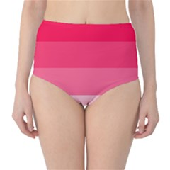 Pink Scarlet Gradient Stripes Pattern High Waist Bikini Bottoms