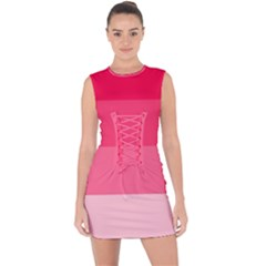 Pink Scarlet Gradient Stripes Pattern Lace Up Front Bodycon Dress