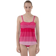 Pink Scarlet Gradient Stripes Pattern Twist Front Tankini Set