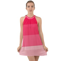 Pink Scarlet Gradient Stripes Pattern Halter Tie Back Chiffon Dress