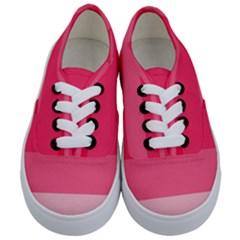 Pink Scarlet Gradient Stripes Pattern Kids  Classic Low Top Sneakers