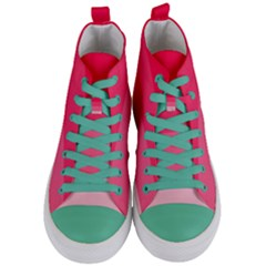 Pink Scarlet Gradient Stripes Pattern Women s Mid Top Canvas Sneakers