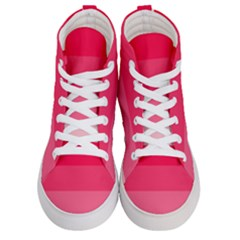 Pink Scarlet Gradient Stripes Pattern Men s Hi Top Skate Sneakers