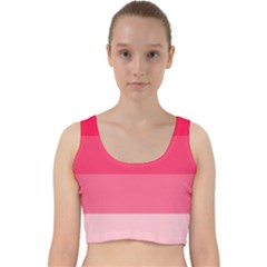 Pink Scarlet Gradient Stripes Pattern Velvet Racer Back Crop Top